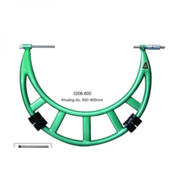 Panme đo ngoài cơ khí đầu đo hoán đổi Insize 3206-600 500~600mm 0.01mm